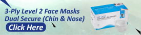 3 Ply Level 2 Face Masks Dual Secure Chin & Nose