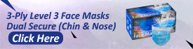 3 Ply Level 3 Face Masks Dual Secure Chin & Nose