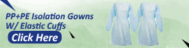 PP PE Isolation Gowns w Elastic Cuffs